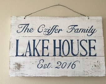 FAMILY LAKE HOUSE sign, hand painted, handmade, folk art, cottage chic home decor, retro, house, condo, apartment, wedding, love hand made