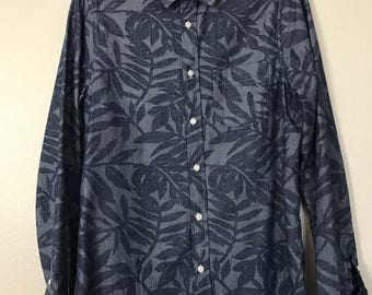 Mens Men Tropical, Tiki, Hawaiian Button Down Casual Shirt Hipster, Indie, Vintage
