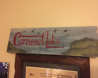 Conneaut Lake, Pennsylvania, PA, Wooden, Handmade, Hand Painted, Folk Art, Shabby, Cottage Chic, Home Decor, Lake House