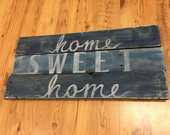 Home Sweet Home sign, hand painted, handmade, folk art, cottage chic home decor, retro, house, condo, apartment, wedding, love hand made