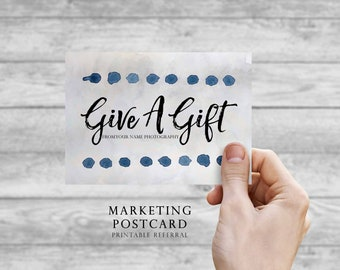 Give A Gift Photography Postcard Template - Photography Marketing Postcards / Photography Template / Photographer Postcard