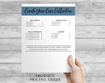 Photography Price Guide Template - Photography Marketing Product Guide / Photography Pricing Template / Photographer Pricing Guide
