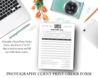 Photographer Client Order Form / Photography Client Order Printable - Photographer Template