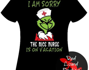 69c71197e55 Adult Nurse Grinch Tee