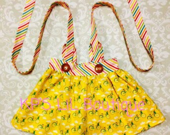 Size 3T yellow bicycle suspender skirt