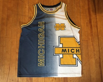 f8a23e8e2ad Vintage Michigan Wolverines 90s All Over Basketball Jersey