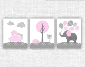 8ef71536 INSTANT DOWNLOAD Pink Grey Elephant Tortoise Owl Hedgehog Clouds Tree  Balloons Nursery Printable baby girl Room decor prints Set of 3, 8x10