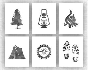 Camping wall art | Etsy