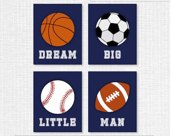 INSTANT DOWNLOAD Navy Boy Sports Nursery Printable Room Wall Art Decor Prints Football Baseball Dream Big Little Man Quote Set of 4, 8x10