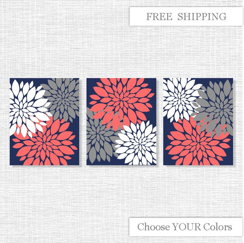 Flowers Modern, Flowers Wall Art, Flowers Coral Navy Blue Gray, Flowers  Printable wall art, Flowers Prints Set of 3