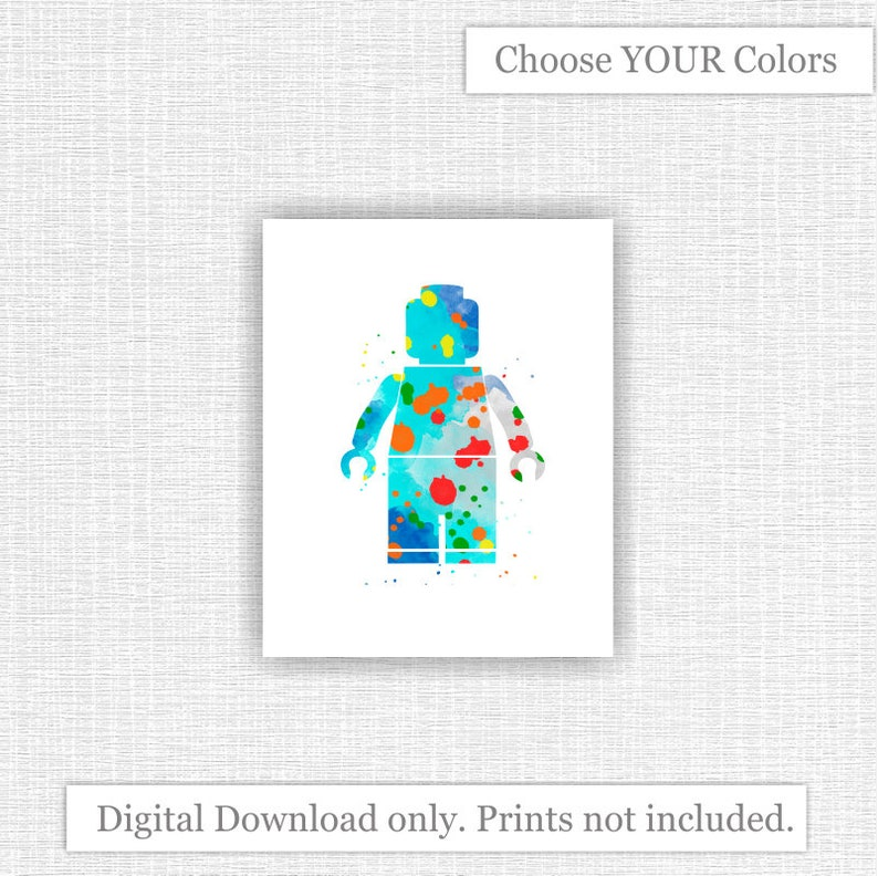 image relating to Lego Man Printable identified as Immediate Down load LEGO Gentleman Multicolored Watercolor Print Child Area Playroom Decor wall Artwork prints 5x7, 8x10, 11x14, 16x20