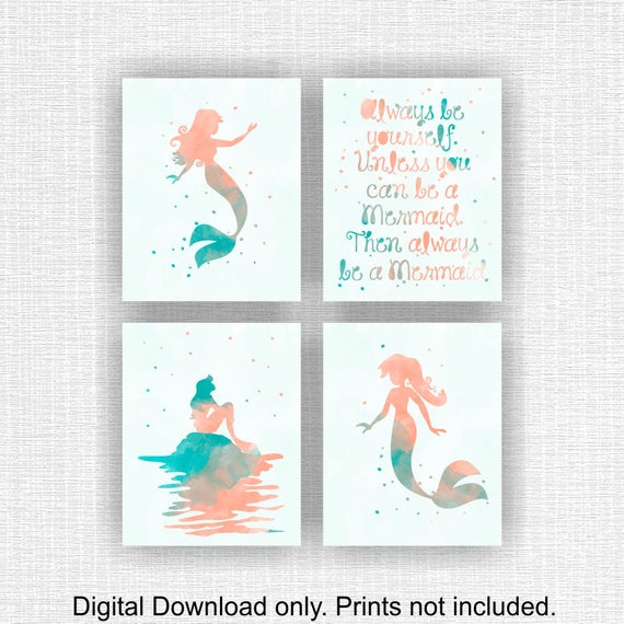INSTANT DOWNLOAD Disney Little Mermaid Ariel Watercolor silhouette, Disney  Quote, Girl Room Playroom Decor Art Set of 4, 8x10, Mermaid