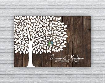 Wedding Guest tree (185 Leaf) and birds Digital prints 20x30, Wedding Guest Book Alternative, Wedding Personalized prints INSTANT DOWNLOAD