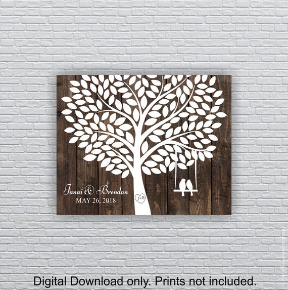 instant download wedding tree print birds on a swing 140 etsy