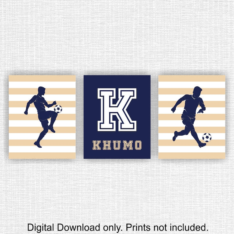 INSTANT DOWNLOAD Navy and Beige Soccer Sports Boy Nursery Wall Art Decor,  Boy Name Wall decor, Sports PRINTS Set of 3, 12x16