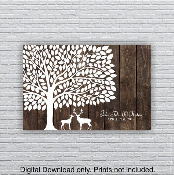 wedding tree print 200 leaf deer silhouette wood planks etsy