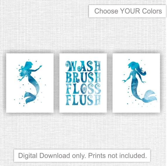 Instant Download The Little Mermaid Bathroom Watercolor Wall Art Decor Wash Brush Floss Flush Girl Bathroom Decor Set Of 3 8x10