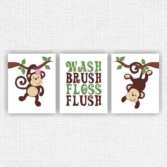 Instant Download Monkey Bathroom Wall Decor Wash Brush Floss Flush Baby Boy And Girl Monkey Bathroom Decor Art Set Of 3 8x10 Monkey