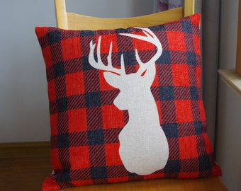 Deer head pillow cover,red  with deer head pillow cover
