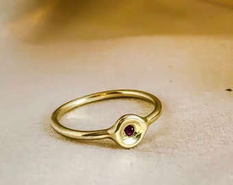 Tiny bawl stacking ring sett with a precious stone, gold ring, dainty stacking ring, minimalist gold ring, alternative stacking ring