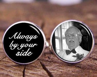 Always By Your Side Cufflinks, Custom Any Text, Photo Cuff Links, Personalized Cuff Links, Wedding Cufflinks, Grooms Cufflinks, Wedding Gift