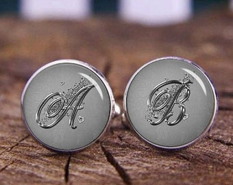 Elegant Silver Monogram Cufflinks, Elegant Silver Initials Cufflinks, Custom Initials Cufflinks, Custom Wedding Cufflinks, Tie Clips, Or Set