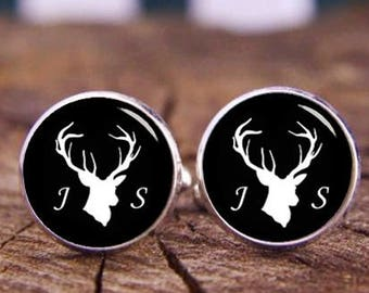d8a99a637730 Deer Head Cuff Links, Custom Deer Cuff Links, Custom Initials name, Wedding  Cufflinks, Bucks Stag Cufflinks, Groom Cufflinks & Tie Clip Set