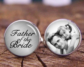 Wedding Cufflinks, Father of The Bride Cuff Links, Custom Any Text or Photo Cufflinks, Groom Cufflinks, Personalized Cufflinks, Tie Clip