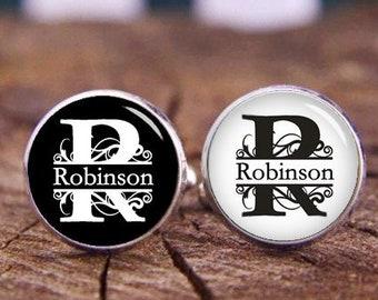 Customize Initial Cufflinks, Custom Name & Monogram Cufflinks, Personalized Cufflinks Tie Clip Set, Wedding Cufflinks, Groom Groomsmen Gifts