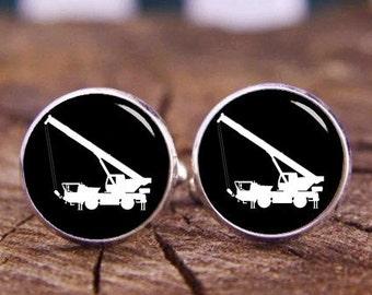 Crane Car Cuff Links, Crane Truck Cufflinks, Custom Any Engineering Vehicle Cufflinks, Hoist Truck Cuff Links, Custom Wedding Cuff Links