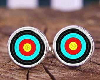 Archery Cuff links, Archery tie clips, Archer gifts, Archery cufflinks, bull's-eye cuff links, custom any photo or text, wedding cufflinks,