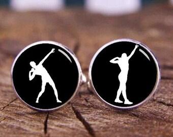 Shot Put Cuff Links, athlete cufflinks, Custom All Sports profile, Wedding Cuff Links, Shot Cufflinks, Personalized Cuff Links, Tie Clips