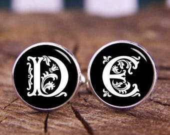 Custom Initials Cufflinks, Personalized Monogram Cuff Links, Custom Wedding Cufflinks, Monogrammed Cufflinks, Groom Cufflinks & Tie Clip Set