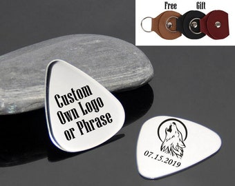 41b74990aa9 Personalized Engraved Guitar Pick, Engrave Own Phrase, Engraved Guitar Pick  with Leather Case, Custom Guitar Pick, Guitar Pick for Boyfriend