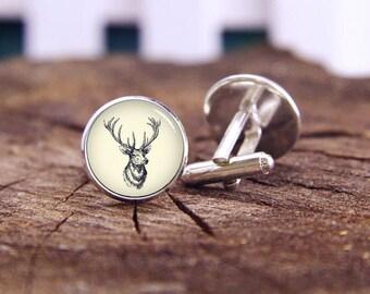 34fc8a2e1d67 Vintage Deer Head Cufflinks, Buck Cufflinks, Deer Cuff Links, Elk Cufflinks,  Custom Wedding Cufflinks, Groom Cufflinks, Tie Clips, Or Set