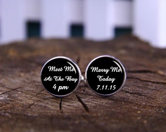 Meet Me At The Bay Cufflinks, Custom Any Text, Time Or Date Cuff Links & Tie Clip, Marry Me Today Cufflink, Personalized Wedding Cufflinks