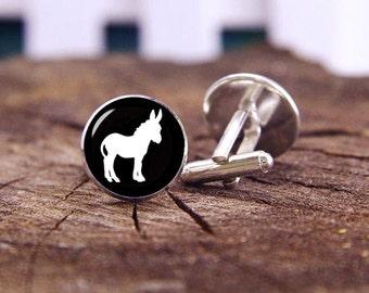 Donkey cufflinks, donkey cuff links, custom animal cufflinks, donkey tie clips, custom wedding cufflinks, groom cufflinks, tie bars or set