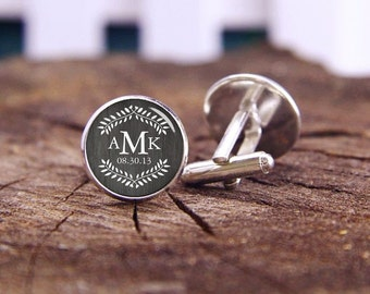 Rustic Country Wedding Monogram cufflinks, monogram cuff links, monogrammed gift, custom wedding cufflinks, groom cufflinks, tie bars or set