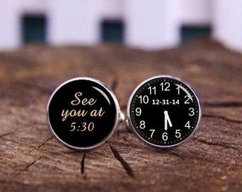 Custom Wedding Cufflinks, Tie Clip, See You At, Groom Cuff Links, Custom Time And Clock Cuff Links, Trending Cufflinks, Special Gift Ideas