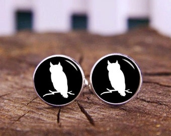Owl Photo Cufflinks, Owl Cufflinks, Custom Animals Cuff Links, Owl Tie Bars, Custom Wedding Cufflinks, Groom Cufflinks, Tie Clips Or Set