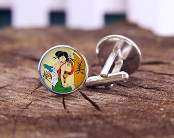 Vintage Geisha Cufflinks, Geisha Cuff Links, Japanese Culture, Geisha Tie Clip, Custom Wedding Cufflinks, Groom cufflink, Vintage Cuff Links