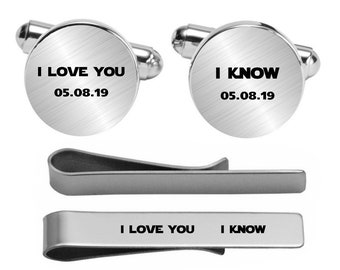 I Love You I Know Cufflinks Wedding Engraved Cuff Links Engrave Phrase Logo Date Custom Wedding Personalized Engraved Cuff Links For Groom