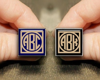 Square Monogram Cufflinks, Personalized Square Cuff Links, Custom Initial Cufflinks, Custom Wedding Cufflinks, Spoofs Cufflinks, Groom Gifts
