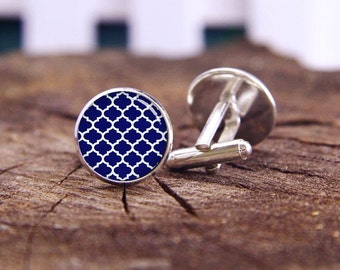 Moroccan Quatrefoil Cufflinks, Navy Blue White Cufflinks, Quatrefoil Cuff Links, Custom Wedding Cufflinks, Groom Cufflinks, Tie Clips Or Set