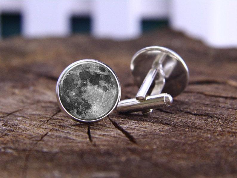 Nature Cuff Links Full Moon Cufflinks Groosmen Jewelry Silver Plated Cufflinks The Moon Cufflinks Astronomy Space Cuff Link Groom Gift