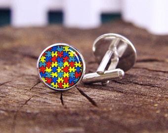 autism cufflinks, Autism Heart cufflinks, autism tie bars, autism tie tacks, custom wedding cufflinks, groom cufflinks, tie bars, or set