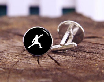 Fencing Cufflinks, Fencing Cuff Links, Custom Sports Events, Custom Team Cufflinks, Custom Wedding Gifts, Groom Cufflinks, Tie Clip Or Set