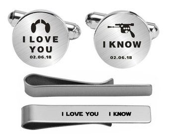 I Love You I Know Cufflinks Wedding Engraved Cuff Links Engrave Phrase or Logo Custom Wedding Personalized Engraved Cuff Links For Groom