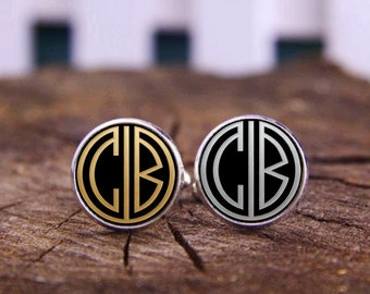 Customize Initials Cufflinks, Custom 1920s Gatsby Style Monogram Cufflinks, Personalized Cufflinks, Wedding Cufflinks, Groom Groomsmen Gifts