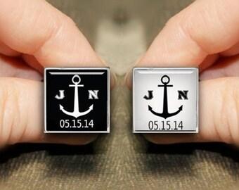 Boat Anchor Cuff Links, Personalized Cufflinks, Groomsman Cufflinks, Customize Square Cuff Links, Custom Wedding Cufflinks, Square Tie Clips